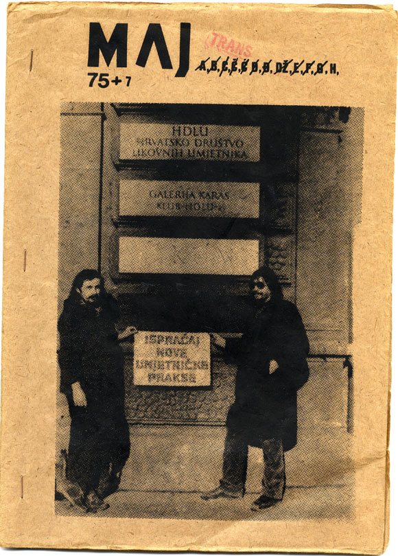 Maj 1, 1975 Cover. Jerman and Martek hold a sign that reads, 'Farewell to the New Art Practice.'