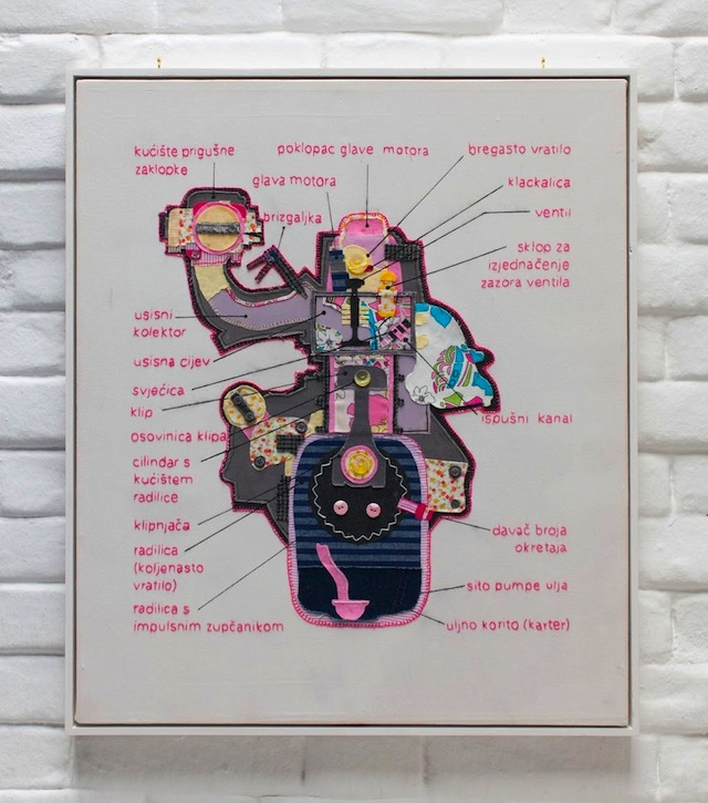 Four Stroke (2011) - embroidery, textile collage and drawing on twill canvas 60x80cm