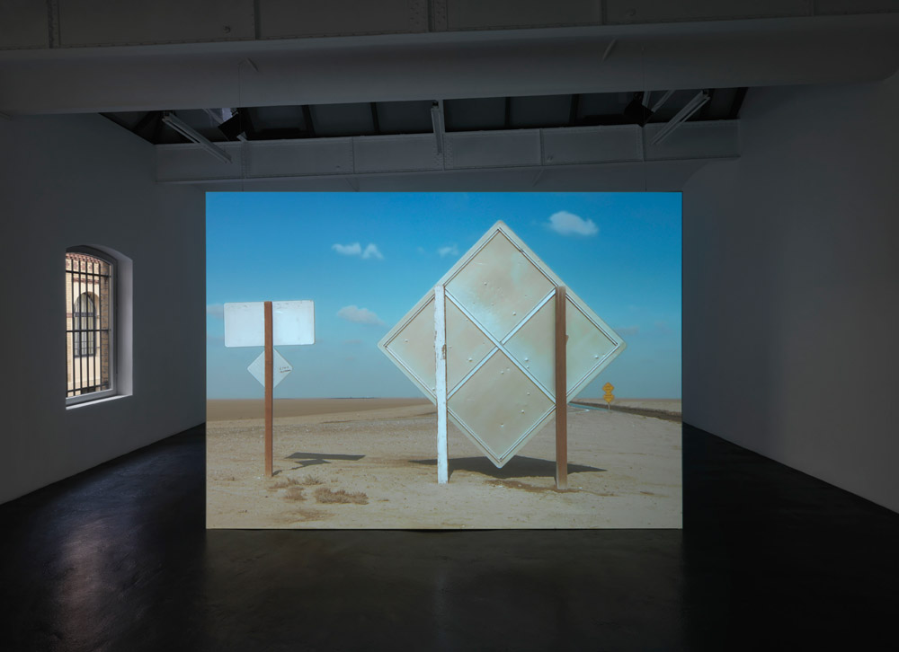 James Benning Installation View of Levee Road (2015) - Photo: Jens Ziehe, Berlin Courtesy the artist and neugerriemschneider, Berlin